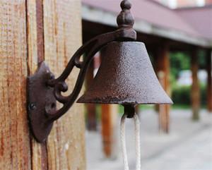 Fundido de boas vindas Ferro Dinner Bell Wall Mount metal decorativa Campainhas Campainha Casa Loja Loja Bar Pub Clube Portão Decoração Simples Retro Brown