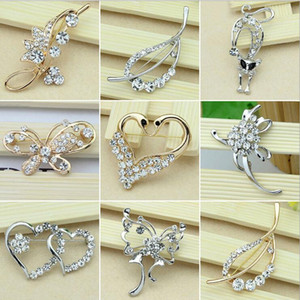 Brooches Pins For Girl Gift Hot Selling Gold and Silver Crystal Rhinestone Flower Bouquet Pin Brooche Jewelry Wholesale Free Shipping 003DR