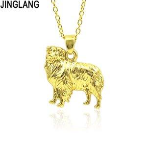Jinglang ليتل الكلب قلادة للنساء تخصيص الذهب / الفضة الطفل الحيوان زفاف العروسة المجوهرات هدية عيد