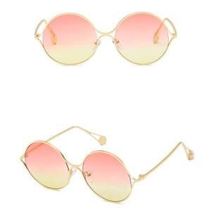 Nova Moda Armação De Metal Óculos De Sol De Metal Oco Com Pérola Templos de Luxo Designer de Óculos De Sol Com Lentes Claras 8 Cores