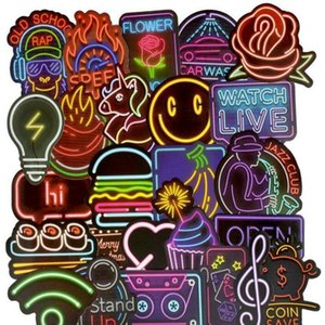 Us 248 50 Neon Light Sticker Anime Icon Animal Cute Decals Stickers Gifts For Children To Laptop Suitcase Guitar Fridge Bicycle hj2009 MHkAT