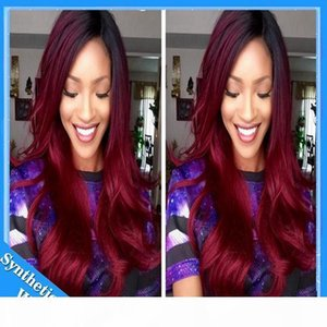L Ombre Wig Black To Bug Burgundy 99j Body Wave Heat Resistant Synthetic Lace Front Wig With Baby Hair Natural Hairline For Black Women