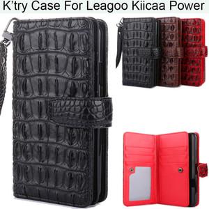 Custodia in pelle K'try Alligator Crocodile Skin Magnetic Wallet Pu per Leagoo Kiicaa Power M8 S8 (S8 Pro)