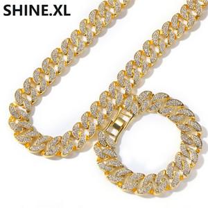 Neue 18 Karat vergoldete Diamanten Miami kubanische Kette Halskette übertrieben Trend Hip Hop Herren Armband Halskette Set