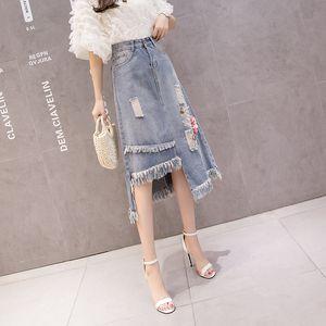 Summer Women Denim Skirts High Waist Hole Embroidery Irregularity Tassel Fashion SKirt Cotton Ropa Mujer 2020 New B05705