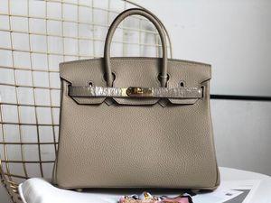 Klasik Litchi desen gerçek leahter Hamsi çanta çanta litchi desen hakiki deri kadın çanta 25cm 30cm 35cm moda kılıf çanta