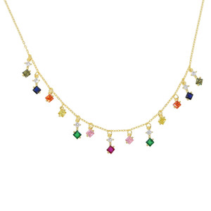 Banhado a ouro arco-íris cz gota charme colar 2019 nova brilhante colorido moda jóias gargantilha declaração colar colares