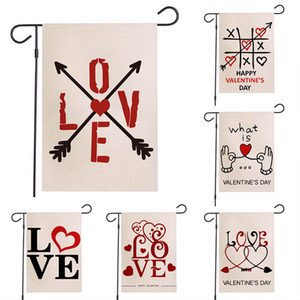 Valentine's Day Garden Flag Love Heart Romantic Arrow Hanging Banner Flags Home Party Decoration Double Side Print Linen 30*45cm