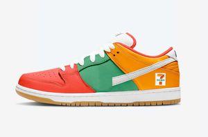 2020 SB Dunk Low 7 Eleven Скейтборд обувь Оптовые для продажи Мужчины Женщины Спортивная обувь Бесплатная доставка с коробкой Размер 36-45