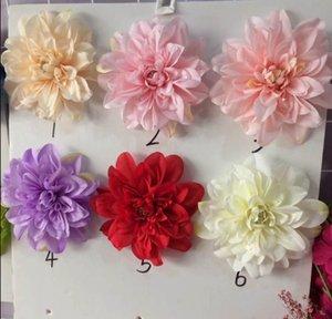 Da parede da flor da decoração do casamento de simulação Dahlia cabeça Início Placement Peony Silk Artificial Flower Handmade Rose Wedding