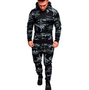Hiphop capucha chándales camuflaje Diseñador Cardigan Sudaderas Pantalones 2pcs sistemas de la ropa Pantalones Trajes para hombre de la moda de primavera