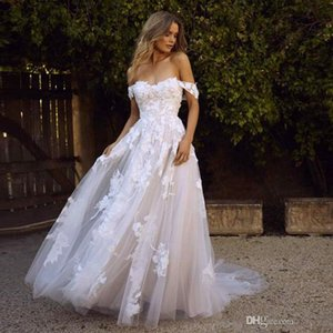 3D Floral Appliques Romantic Country Wedding Dress 2020 Off Shoulder A Line Long Lace Bridal Gowns Customize Plus Size Vestidos De Noiva