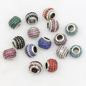 DIY prata tibetana liga solta pérolas diamante Bead 10 * 12 milímetros 10 cores Alloy solta pérolas Mulheres charme jóias BraceletNecklace