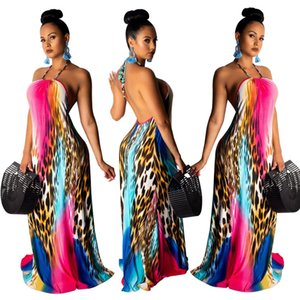 2019 Gradient imprimé léopard Robe longue dos nu Femmes Sexy Halter Plage Bohême Robes Robe Casual Party vrac Maxi Dress