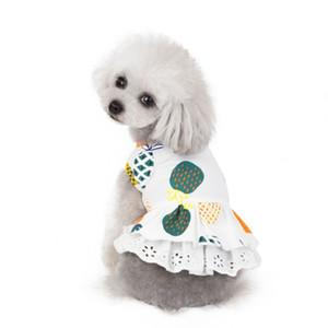 Одежда для собак ананас печатный щенок платье хлопок собака Принцесса платья дышащие фрукты Pet жилет юбка Pet Supplies3ColorWholesale WZW-YW3729