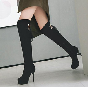 plus size 31 to 47 48 sexy ladies platform high heel lace up over the knee thigh high boots luxury designer women boots