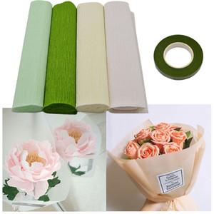 25 cm x 250 cm Renkli Krep Kağıt Ve Çiçek DIY Çiçek Sarma Fold Scrapbooking Hediyeler Için Kök Bant parti Garland Dekorasyon 8Z