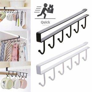 Kitchen Hook Coffee Mug Cup Holder Under Shelf Hanger Cabinet Cupboard Storage Organiser Rack 6 Hooks