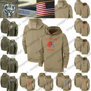 2020 Tan Camisola Salute to Serviço capuz cáqui com capuz Cleveland Browns Denver Broncos Detroit Houston Lions texano Homens Mulheres Criança Juventude
