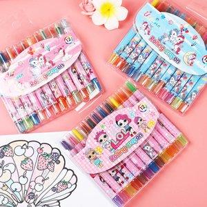 12Color Set Cartoon Oil Pastel LOL Girl Unicorn Erasable Watercolor Pen Drawing Painting Art Marker Pens School Supplies