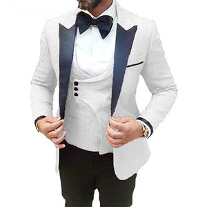New Arrival Design White Men Suit One Button Slim Fit 3 Piece WeddingTuxedo Custom Blazer Groom Male Suits Jacket+Pants+Vest