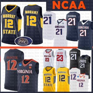 Ja Morant 12 De'Andre Hunter 21 Rui Hachimura Gonzaga Bulldogs Basketball NCAA Jersey Murray State University Racers Virginia Cavaliers