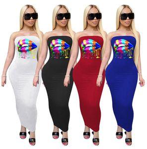 Kadınlar Uzun Elbise Gökkuşağı dudakları Yaz Moda Seksi Yelek Kolsuz Elbise Dudak Off Omuz Etek Bayan BODYCON Elbiseler 4 renk D61003 yazdırmak