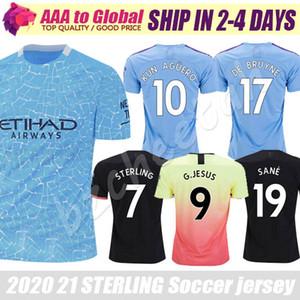 Top jersey Thail 2020 Ville 2021 Camisas Accueil à l'extérieur Sterling Mahrez Kun Aguero De Bruyne Outdoor Vêtements de football maillots de football jersey