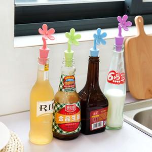 Reutilizable tapón de vino de silicona linda forma de girasol cerveza cerveza Tapones de botellas de aceite Champaña de corcho de vino de champán para sellador de botellas de vino