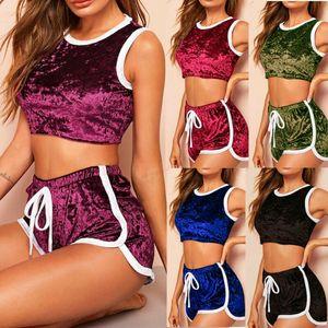 2pcs Le donne abito di velluto Set Bra Top Crop top + shorts di forma fisica di ginnastica di yoga di sport