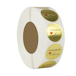 500pcs / rouleau 1 pouce or main faite avec amour bricolage labels autocollant autocollant adhésif décoré au stock avec meilleur prix
