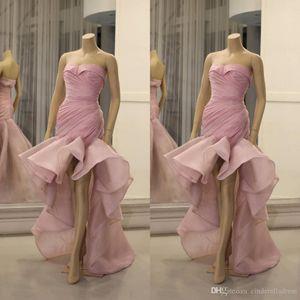 Aso Ebi 2020 Arabisch Stilvolle rosa Brautjungfer Cocktailkleider Schatz-Nixe-Organza-Abschlussball-Kleider formale Partei-Festzug-Kleider