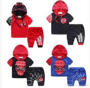 Tendências Popular meninos novos Crianças manga curta Sportswear Mens Red Crianças manga curta Avengers herói Set