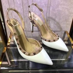 2018 Sandali estate signore di lusso della fascia elastica Toes decorazione Peep cinturino alla caviglia tacco grosso partito scarpe sexy di modo Shoes34-41