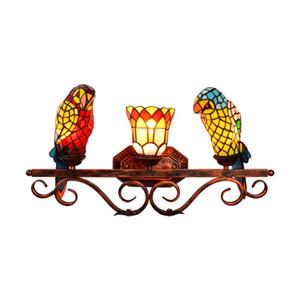 retrò pappagallo europea Tiffany macchiato bagno in vetro a specchio fari corridoio american bar ristorante a tre testa della lampada da parete TF012