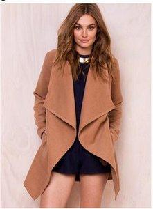 Women Wool Blends Solid Slim Fit Designer Autumn Winter Coats Outerwear