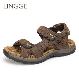 LINGGE Genuine Leather Men Sandals Summer Leisure Beach Men Shoes High Quality Leather Sandals Men's Sandals Big Size 38-45 Y200702