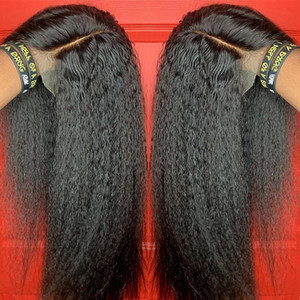 Kinky Straight Wig 13x4 Lace Front Human Hair Wigs For Women Pre Plucked With Baby Hair Brazilian Remy Italian Yaki Human Wig