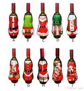 Accueil Festive Petite bouteille de vin tablier Couverture de Noël Sexy Lady / Noël Chien / Santa Pinafore bouteille de vin rouge emballage vêtements Bouteille vacances Robe