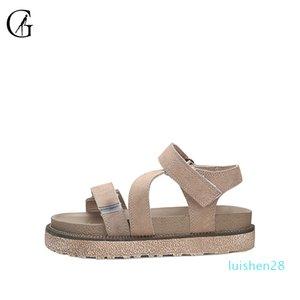 de GOXEOU Mulheres Sandals Khaki Suede romanos Grosso Sole confortáveis Casual Praia Sapatos L28