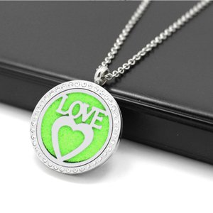 Crystal 30MM aromatherapy lockets 316L Stainless Steel memory perfume locket pendant For Perfume DIY (Free Chain & Pad) AB181-200