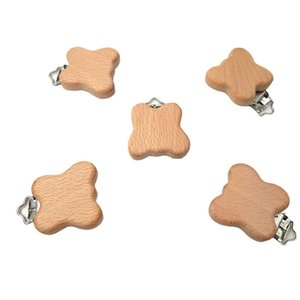 Natural Wooden Nipple Chain Baby Feeding Accessories Pacifier Clasp Cute Modeling Beech Pacifier Clip butterfly shape Baby DIY Preferred