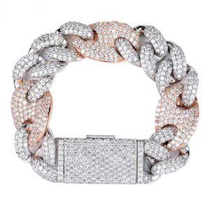 20 mm verrouillage fermoir lien 7-9 pouces Bracelet Glacé Zircon bling Hip hop Hommes Bijoux charms perles bracelets cadeau