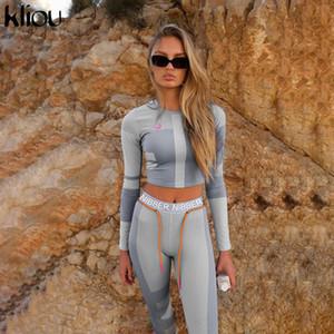 Mulheres da aptidão duas peças set Top manga comprida colheita letras imprimir magro elástico leggings sportswear agasalho roupa fina