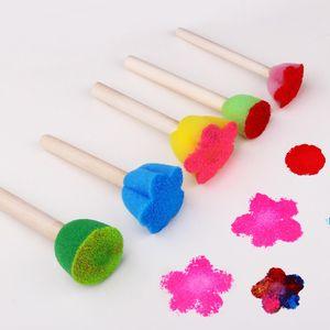 Sello de esponja de color Mini patrón de flores Esponjas Suministros de arte Cepillo Manija de madera Buena elasticidad Difícil de deformar 1 55tyC1