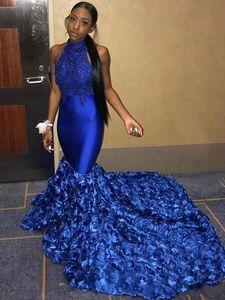 Kraliyet Mavi Mermaid Gelinlik 2019 Yeni 3D Gül Çiçek parti Törenlerinde Özel Durum Elbise Dubai 2k19 Siyah Kız Çift Gün Backless