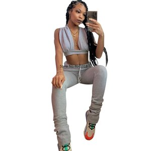 2020 Women Sets Summer Tracksuits Fitness V-neck Crop Tops+Pants Suit Two Piece Set Night Club Party Outfits 2 pcs Street