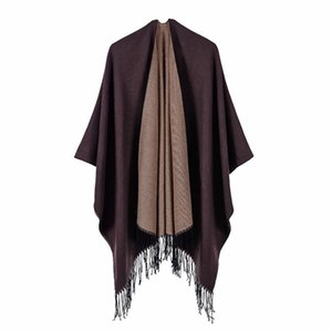 Simple Solid Double Side Women Long Scars Ladies Fall Poncho Street Fashion Bohemia Beach Windproof Wraps Shawl With Tassel