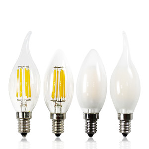 E12 E14 2w 4w 6w Luzes LED lâmpada fosco Candle Flame Filament ampola de vidro 110v 220V Branco quente