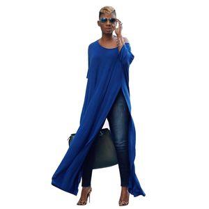 Sexy Scoop Bat Wing manches longues haute A-ligne de Split lambrissé en vrac Maxi Long T-shirt Robes pour femmes